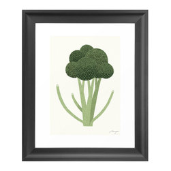 Eat Your Greens Art Print - You'll be inspired to think healthy with this charming Eat Your Greens Art Print. The broccoli tree image is produced on gallery quality, acid and lignin free archival paper. Custom trimmed with a one-inch border, ready for framing, the Eat your Greens Art Print is the perfect art addition to dining and kitchen spaces.