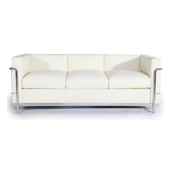 """Kardiel Le Corbusier Style LC2 Sofa 3 Seat, Cream White Aniline Leather - The Le Corbusier sofa set series was originally designed in 1928 for the Maison La Roche house in Paris. The design is the modernist response to the traditional club chair. The LC2 Petit (or Petite) series is the smaller of two versions Le corbusier created. Even in 1928, apartment living in Paris required a well thought out compact furniture design. Le Corbusier recognized this and designed for the need. A noticeable feature of the LC2 is the separate appearance of the additional top seat cushion. Remarkably comfortable and compact, Le Corbusier often referred to the pieces as """"cushion baskets"""". A striking feature of the LC2 is the externalized metal frame supporting the base, extending as the legs and running the entire length of the piece. Its not just the front of the LC2 that is attractive, the metal frame work means design detail from the sides and back allowing for easy placement even in the middle of a room. When designing in small spaces, the ability to place items in the middle of the room is no small features. The design is available in a 1, 2 and 3 seat version that share the same overall dimensions with the exception of the length. The Le Corbusier LC2 set is often used in a group of 2 chairs (1 seat version) and a single sofa or love (2 or 3 seat versions)."""