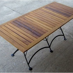 Furniture Designhouse Rectangular European Cafe Folding Table - 32 x 72 in. - With an oil-treated African teak and gage steel construction- the Furniture Designhouse Rectangular European Cafe Folding Table - 32 x 72 in. is suitable for indoor and outdoor use. Its frame has a 100% polyester baked, anti-UV powder coat that does not crack, blister or peel. Suitable for year-round use, this cafe table is sturdy and durable and has a friendly fold-flat design for easy storage. Slightly oversized covers on the legs provide stability and protection.