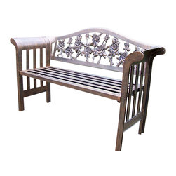 Oakland Living - Royal Bench in Antique Bronze - Tea Rose - Made of Rust Free Cast Aluminum Construction. Easy to follow assembly instructions and product care information. Stainless steel or brass assembly hardware. Fade, chip and crack resistant. 1 year limited. Lightweight and constructed of rust-free cast aluminum. Hardened powder coat finish in Antique Bronze for years of beauty. Antique Bronze finish. Some assembly required. 18 in. W x 18 in. L x 58 in. H (91 lbs.)This Bench will be a beautiful addition to your patio, balcony or outdoor entertainment area. Our benches are perfect for any small space, or to accent a larger space.