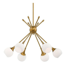 Midcentury Modern Mobile Chandelier, Golden Brass - Midcentury Sputnik light fixtures are the rage right now, and the warm golden brass finish on this one can't be beat.