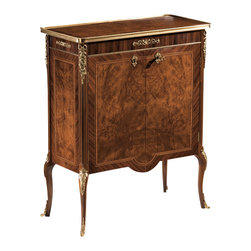 """Inviting Home - French Demilune Cabinet - 18th century French style two door cabinet with myrtle burl palissander veneer antiqued brass trim and one shelf inside; 30""""W x 14-1/2""""D x 36-3/4""""H hand-made in Italy Hand-crafted 18th century French style two door cabinet. This cabinet features myrtle burl and palissander veneer. French style cabinet has antique brass trim and one shelf inside. This inlaid cabinet is hand-made in Italy."""