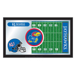 "Holland Bar Stool - Holland Bar Stool Kansas Football Mirror - Kansas Football Mirror belongs to College Collection by Holland Bar Stool The perfect way to show your school pride, our Football Mirror displays your school's symbols with a style that fits any setting.  With it's simple but elegant design, colors burst through the 1/8"" thick glass and are highlighted by the mirrored accents.  Framed with a black, 1 1/4 wrapped wood frame with saw tooth hangers, this 15""(H) x 26""(W) mirror is ideal for your office, garage, or any room of the house.  Whether purchasing as a gift for a recent grad, sports superfan, or for yourself, you can take satisfaction knowing you're buying a mirror that is proudly Made in the USA by Holland Bar Stool Company, Holland, MI.   Mirror (1)"