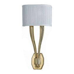 2 Lights Modern White Linen Shade Brass Wall Sconce - A modern-style wall sconce with pleated white linen shade and a U-shaped golden finished brass holder, one bulb sits on each top of the U-shaped stick. The unique and simple design makes it suitable for different style of home's decor.