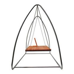 "Swing 02463 - Slatted teak wood swing. Adjustable backrest (13"" x 8.25"" x 16""H) sold separately."