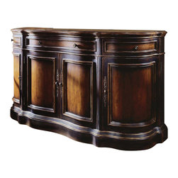 Hooker Furniture - Three Drawer/Four Door Credenza - To call this gorgeous piece an armoire or a chest of drawers is selling it far short. No, darling, it's a credenza. It's a neverending story of storage space without looking like a purely functional piece. Sumptuous, deep wood with