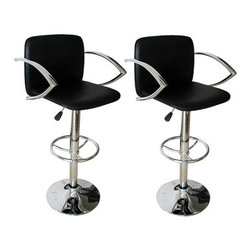New Buffalo Corp. - Amerihome 2-Piece Adjustable Height Bar Stool Set - This Amerihome 2-Piece Adjustable height Bar Stool Set includes two retro style, Adjustable height Black vinyl bar stools. This 2-piece bar stool set is reminiscent of the days of diners and drive-ins, and features a polished chrome base and a Black vinyl seat and back for a hint of vintage retro style.