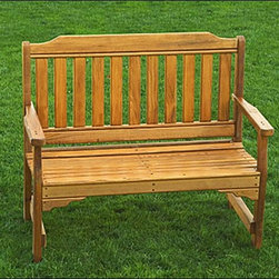 Fifthroom - Cypress English Garden Bench - Our versatile 42-inch Cypress English Garden Bench can be used with our beautiful Cypress English Garden Chair, as part of a patio set, or by itself for relaxing by the pool, sitting around the campfire, or enjoying the breeze on your porch or in the garden. Wherever it ends up, this bench, made from durable Southern Cypress and Stainless Steel bolts & Screws, is the perfect two-seater.