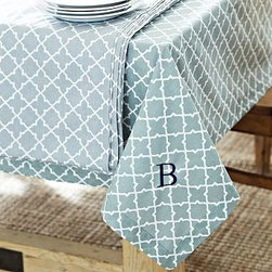 """Roz Tile Tablecloth, 70 x 108"""", Blue Smoke - Freshen up the look of a kitchen or dining room effortlessly and affordably with our tile-printed, crisp cotton tablecloth. 70 x 108"""" Woven of pure cotton. Machine wash. Monogramming is available at an additional charge. Monogram will be placed at one corner of the tablecloth. Catalog / Internet Only. Imported."""