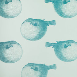 Abnormals Anonymous Mr Blow Wallpaper in Blue Lagoon - puff the magic blowfish lives in the sea. or on your wall.