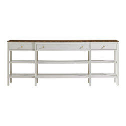 Stanley Furniture - Charleston Regency Carolina Sofa Table - Ropemaker's White Finish - The lithesome profile of the Carolina Sofa Table grants it passage into most any room of the home. It features three drawers and two fixed shelves for storage. Made to order in America.