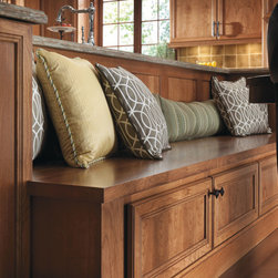 Omega Bench - Get creative with cabinetry!  The right combination of components from Omega allow these base storage cabinets to double as a convenient, casual seating area.