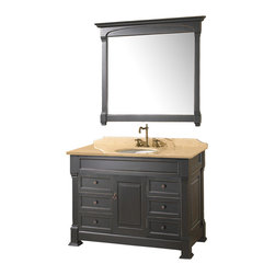 "Wyndham - Andover 48"" Bathroom Vanity Set - Antique Black - A new edition to the Wyndham Collection, the beautiful Andover bathroom vanity series represents an updated take on traditional styling. The Andover is a keystone piece, with strong, classic lines and an attention to detail.; The vanity and solid marble countertop are hand carved and stained. Available in Black and Dark Cherry finishes to match any decor. Available in a range of single or double vanity sizes to fit any bathroom.; Black Antique Finish; Includes Solid Marble Counter - Ivory; Includes White Porcelain Basin; Includes Backsplash; Includes Matching Mirrors; Fits 48 inch space; Faucets not included; Constructed of environmentally friendly, zero emissions solid oak wood, engineered to prevent warping and last a lifetime; Dimensions: Vanity 48 x 23 x 35; Mirror: 44 x 41"
