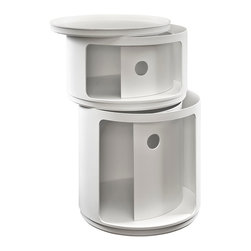 East End Imports - Orbit Storage Module in White - Now you see it, now you don't. In a perfect blend of visual effects and sliding hatches, Orbit shows you why decor shouldn't end with the trash can. Whether for your recyclables or not, the compact cylindrical design imparts a sense of futurism to your room. Made of resilient ABS plastic, complete your modern home or office with a contemporary piece that livens up even the most basic of utilities.