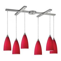 Joshua Marshal - Six Light Satin Nickel Cardinal Red Glass Multi Light Pendant - Six Light Satin Nickel Cardinal Red Glass Multi Light Pendant