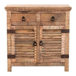 YOSEMITE HOME DECOR - Storage Cabinet - A unique accent chest that will bring character to any room.  A perfect addition to a living room, kitchen or bedroom. Two  shutter styled doors cover a large storage area with one solid wood inner shelf. Two drawers add even more storage space. This shutter door chest is made of solid mango wood by  skilled artists in India. The naturally distressed finished cabinet features distressed metal hardware. Assembled and Made in India.  Item Dimensions are 36inches Width X 15inches Depth X 36inches Height