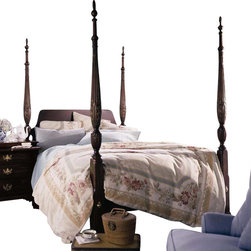 Kincaid - Kincaid Carriage House Solid Wood Queen Straight Panel Rice Poster Bed - The rice carved poster bed has been a favorite for over 300 years.  Today, as  in the early eighteenth century, it is an enduring symbol of  craftsmanship and America&rsquos proud history.  The Carriage House  collection presents a unique, solid wood Straight Panel Rice Bed version  of this classic style.  High, soaring turned posts, a streamlined  headboard with gently rounded corners, and a low-profile footboard are  simple and chic, filling any master suite with sophisticated style and  warmth.  Create a sanctuary where you can relax after a long day with  the Straight Panel Rice Bed, from the Carriage House collection.