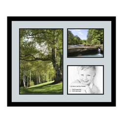 ArtToFrames - ArtToFrames Collage Photo Frame  with 1 - 12x18 and 2 - 8x10 Openings - This modern Satin Black, 1.25 inch thick collage frame, comes equipped with an arrangement for 1 - 12x18 and 2 - 8x10 prints of your choice. This collage is part of an array collage frame collection and boasts a sweeping line of carefully constructed frames at a low-cost you can gloat about! Handmade and designed to outfit your prints ensuring you 1 - 12x18 and 2 - 8x10 art will fit perfectly. Bordered in a bold Satin Black, sleek frame and surrounded by a clean Baby Blue mat, the collage arrangement most definitely shows off your photographs, and good-time memories in an entirely interesting and fun way. This collage frame comes protected in Styrene, equipped with appropriate hardware and can be displayed with ease. These premium quality and raw wood-based collage frames differ in design and size specifics; all in contemporary and modern design. Mats are available in a bevy of color tones, openings, and shapes. It's time to tell your story! Preserving your saving your memories in an original and brilliant contemporary way has never been easier.