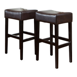 Great Deal Furniture - Duff Backless Leather Bar Stool (Set of 2), Brown - Add comfort to your home with our Duff Backless Brown Leather Bar Stools. Made with our soft bonded leather and unique backless design, this is the ideal stool for any get together. Built from hardwood with dark stained legs, our Duff bar stools is built to last for years to come.
