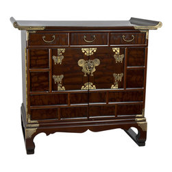 Oriental Furniture - Korean Antique Style 3 Drawer End Table Chest - Outstanding Japanese design decorative cabinet ideally configured for a unique far eastern style end table, nightstand, or bedside lamp table. Exceptional workmanship built to last with sturdy Asian joinery and cabinetry, adds an intriguing, exotic oriental flair to traditional American or European home decor.