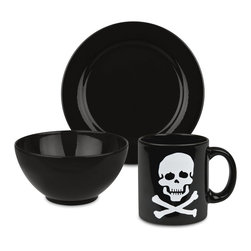 Waechtersbach - 3-Piece Breakfast Skull Set, Black - Start the day out right with this Fun Factory Black Breakfast Set. Includes small side plate, cereal bowl, and smiley mug for your hot coffee.