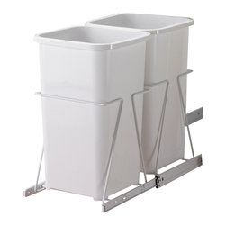 """KV Kitchen & Bath Storage - Slide-Out Waste & Recycling Bin/Non-Lidded in White - Slide-Out Waste . Recycling Center/Non-Lidded.  2 - 27 qt. Bins.  Fits 12"""" (30. 5cm) min. wide opening.   Plastic Component Finish-White.  Metal Component Finish-White. 11 7/16 in. W x 17.75 in. H x 11.75 in. D"""