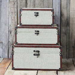 Retro Trunks-Set of 3 - Use them as storage systems or retro accent pieces, or take the plunge and travel with this set of 3 trunks. Whatever you do, rest assured that your travel system (or decor piece) will be the most unique of the bunch.
