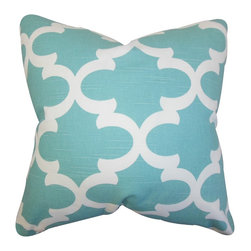 The Pillow Collection - Titian Geometric Pillow Spirit Blue - Lend a modern touch to your interiors with this accent pillow. This throw pillow features a lovely geometric pattern in shades of sky blue and white. Adorn your sofa, bed or seat with a few pieces of this square pillow. This plush accessory fit in a variety of settings and styles. Made with a blend of 55% cotton and 45% linen. Hidden zipper closure for easy cover removal.  Knife edge finish on all four sides.  Reversible pillow with the same fabric on the back side.  Spot cleaning suggested.