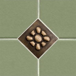 "2"" Solid Bronze Wall Tile with Daisy Design - Burnished Bronze - Create a fun, updated look in your kitchen or bath with this charming wall tile. It features a daisy flower embellishment and is constructed of solid bronze."