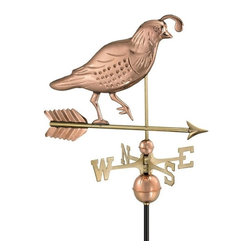 Good Directions, Inc. - Good Directions Quail Weathervane - Polished Copper - Quail are much sought after by game hunters. This bird will grace the rooftop of your house, barn, garage, or cupola. Our Good Directions artisans use Old World techniques to handcraft this fully functional, standard-size weathervane that's unsurpassed in style, quality and durability. A great gift for hunting enthusiasts!