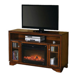 """ACMACM91052 - Calvert Cherry Finish Wood TV Stand Entertainment Center - Calvert cherry finish wood TV stand entertainment center with built in electric fireplace heater. Measures 60"""" x 20"""" x 38"""" H. Some assembly may be required."""