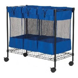 "Household Essentials - Triple Storage Bin - Make storage of sports equipment a slam dunk! Our three-bin sorter has removable mesh bins with drawstring closures that you can pick up and take to the park. Locking casters make this easy to move around the garage. Fill it with balls mits bases or bats. Blue nylon with bottom wire shelf and steel frame. Color: Black35-1/2""w x 17-3/4""d X 32-1/2""h"