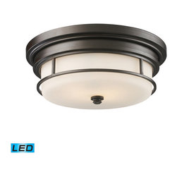Elk Lighting - Landmark Lighting Newfield 66254-2-LED 2-Light Flush Mount in OiLED Bronze - LED - 66254-2-LED 2-Light Flush Mount in OiLED Bronze - LED - 800 Lumens belongs to Newfield Collection by Landmark Lighting This Collection Features A Clean, Refined Design With Down Lights That Can Be Turned On Or Off Using A Separate Switch Mounted On The Fixture. Opal Etched Blown Glass Contrasts Its OiLED Bronze Finish. - LED, 800 Lumens (1600 Lumens Total) With Full Scale Dimming Range, 60 Watt (120 Watt Total)Equivalent , 120V Replaceable LED Bulb Included Flush Mount (1)