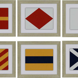 Paragon Decor - Nautical Signals Set of 6 Artwork - The exclusive nautical flags will help guide you into port.  Great for grouping.