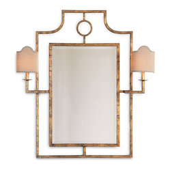 Doheny Hollywood Regency Bamboo Gold Leaf Mirror With Sconces - This mirror and sconce combo offers up illuminating possibilities. With all the inherent glamour of Hollywood Regency style, its glitz factor is achieved through hand-finished gold or silver leaf around the metal frame. It's a welcome addition in your entryway, above a console or in the master bath.