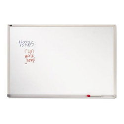 Quartet - Quartet 72 x 48 in. Melamine White Board - QRTEMA406 - Shop for Dry Erase Boards from Hayneedle.com! Use the Quartet 72 x 48 in. Melamine White Board to display messages in formal and informal settings. Made in the USA it features a durable and smooth writing surface. Its satin finish wraparound frame complements contemporary offices and classrooms. The anodized aluminum construction makes it sturdy and long lasting. A full-length marker rail keeps markers and erasers handy. For easy installation the package comes with a hanging system and a kit.About United StationersDedicated to making life in the office more organized efficient and easier United Stationers offers a wide variety of storage and organizational solutions for any business setting. With premium products specifically designed with the modern office in mind we're certain you will find the solution you are looking for.From rolling file carts to stationary wall files every product in the United Stations line is designed with one simple goal: to improve office efficiency. In turn you will find increased productivity happier more organized employees and an office setting that simply runs better with the ultimate goal of increasing bottom line profits.