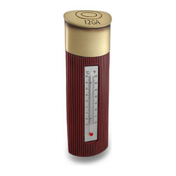 Zeckos - Hand Painted Shotgun Shell Indoor Outdoor Thermometer - This cold cast resin indoor / outdoor thermometer features a 12 gauge shotgun shell design. The thermometer is scaled to read in both Fahrenheit and Celsius degrees. It is hand-painted with metallic gold and brick red paints. It measures 10 1/2 inches by 3 1/8 inches, and the thermometer glass is 4 3/4 inches long. It makes a great gift for hunting enthusiasts.