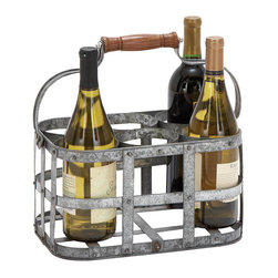 "Benzara - New Metal Wine Holder 13""W, 7""H - Size: 13 Wide x 8 Depth x 7 High (Inches); Material: Rust free premium grade metal alloy; Color: Silver and brown ; Looks elegant; Handmade for natural feel; Distinguished bar accessory; Easy to clean; Light weight"
