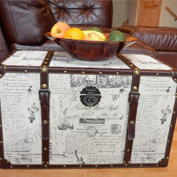 None - Decorative New York Medium Wood Steamer Trunk Wooden Treasure Hope Chest - This beautiful wood trunk features old fashioned hardware for an antique look. This decorative treasure chests is great as a coffee table or end table,and can also be used a convenient storage solution.