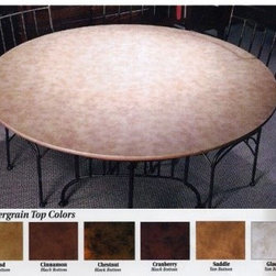 Card Table Xtender - Get the proper playing surface for your next gathering of card players. This large 48- or 54-inch round table surface turns any smaller table into the perfect table for up to 8 players. A leather grain vinyl top lets you deal and pick up cards with ease. The smooth table surface makes clean up is a snap. This table has other practical applications such as dining or gathering around for friendly conversation. The bottom is covered with a fully woven polyester fabric brushed on one side to create a soft yet durable surface that will not harm any card table top or furniture finish. Available in Sand (shown in photo) Cranberry Chestnut Cinnamon Saddle and Glacier.