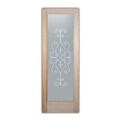 """Bathroom Doors - Glass Bathroom Door Frosted Obscure  Cordoba - CUSTOMIZE GLASS BATHROOM DOORS!  Quality frosted glass bathroom door designs YOU Customize to suit YOUR decor!  Obscure glass bathroom doors create obscurity thru art!  Ship for just $99 to most states, $159 to some East coast regions, custom packed and fully insured with a 1-4 day transit time.  Available any size, as bathroom door glass insert only or pre-installed in a door frame, with 8 wood types available.  ETA for obscure decorative glass bathroom doors will vary from 3-8 weeks depending on glass & door type.........Block the view, but brighten the look with a beautiful interior glass door featuring a custom frosted glass design by Sans Soucie!   Select from dozens of sandblast etched obscure glass designs!  Sans Soucie creates their bathroom glass door designs thru sandblasting the glass in different ways which create not only different effects, but different levels in price.  Choose from the highest quality and largest selection of frosted decorative glass interior doors available anywhere!   The """"same design, done different"""" - with no limit to design, there's something for every decor, regardless of style.  Inside our fun, easy to use online Glass and Door Designer at sanssoucie.com, you'll get instant pricing on everything as YOU customize your door and the glass, just the way YOU want it, to compliment and coordinate with your decor.  When you're all finished designing, you can place your order right there online!  Glass and doors ship worldwide, custom packed in-house, fully insured via UPS Freight.   Glass is sandblast frosted or etched and bathroom door designs are available in 3 effects:   Solid frost, 2D surface etched or 3D carved. Visit our site to learn more!"""