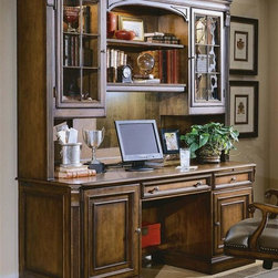 Hooker Furniture - Brookhaven Double Pedestal Computer Desk w Hu - Regal and elegant with a traditional design and timeless style, this computer credenza and hutch set will be a treasured addition to any office design. It includes a desk with tower and printer compartments and a lighted hutch with two shelves and glass doors for decorative items. Includes credenza and hutch. Left facing pedestal includes tower compartment for vertical or horizontal computers. CD, DVD and disc storage and power director II power center. Center drawer with drop front for use with a keyboard. Right facing pedestal with pullout writing surface. Pullout for printer. Two outside doors with two adjustable glass shelves in hutch. Canister light. Center section with one wood framed adjustable glass shelf and light. Task light under center section. Cut-out in back rail for wires. Stained top. Made from hardwood solids with cherry veneers. Highly distressed medium clear cherry finish. Keyboard Area: 24.25 in. W x 15 in. D x 3 in. H. Knee Space: 24 in. H. Printer Area: 18 in. W x 19.5 in. D x 16 in. H. Tower Area: 22 in. W x 10 in. D x 20.75 in. H. Credenza: 72.5 in. W x 24.5 in. D x 30.5 in. H (247 lbs.). Hutch: 75.5 in. W x 15.5 in. D x 54 in. H (222 lbs.)