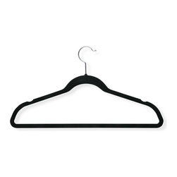 "20-Pack Velvet Touch Suit Hanger, Black - Honey-Can-Do HNG-01050 20-Pack Velvet Touch Suit Hanger, Black. Beautiful, soft, and durable this clothes hanger is contoured to keep shirts, dresses, jackets, and pants perfectly wrinkle-free. Features a 360 degree chrome, swivel rod hook to hang items easily on any closet rod, towel bar, or standard size door. Durable metal construction provides strength, reliability, and long-lasting beauty. Soft velvet coating is gentle on delicate garments and provides a non-slip surface that holds fabrics beautifully in place. Slim, space-saving design makes the most use of available hanging space with its 1/4"" profile."