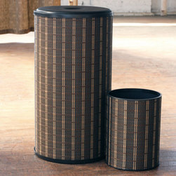 None - 1530 LaMont Home Black/ Brown Barton Round Hamper and Wastebasket Set - Keep dirty and wet clothes from taking over your bedroom or bathroom with this tasteful round hamper. The polyester fabric interior and plastic exterior has an elegant look,and the hamper comes with a matching trashcan that you can use for litter.