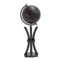 Benzara - Elegant Wood Metal Globe in Black with White Markings - Elegant Wood Metal Globe in Black with White Markings. A perfect blend of form and function, this wood metal globe will lend an air of elegance to your interior settings. The dimensions of the black wood metal globe with tripod legs are 8 x 8 x 23. The stand has dimensions of 6.5.