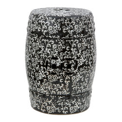 "Oriental Furniture - 18"" Black & White Floral Porcelain Garden Stool - A stylish take on a classic Chinese design, this porcelain garden stool features an antiqued floral design. In a style reminiscent of Victorian wallpaper, twisting vines and flowers curl along the top and sides of this barrel-shaped ceramic stool. Depth and dimension are added by a subtle series of raised dots, solid lines, and punched-through medallions on the top and sides. Featuring a medium-gloss white-on-black glaze with a distressed finish, this garden stool is weather resistant and suitable for use outside on the porch, garden, or yard. Great as a housewarming gift or for adding shabby chic style to your decor."