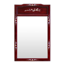 China Furniture and Arts - Rosewood Mother of Pearl Inlaid Mirror - Beveled in elegant rosewood frame with delicately inlaid mother-of-pearl floral design, our classic rectangle rosewood mirror easily fits a variety of decorating styles. To hang in the bedroom, bathroom or hallway. Mounting brassware included. (Dark cherry color.)