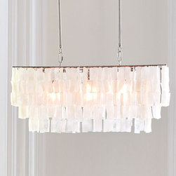 Large Rectangle Hanging Capiz Pendant - A great way to complete the look in the dining area of your kitchen is with fun lighting. I like this West Elm chandelier because it's informal yet feels classic with its glowing capiz shells.