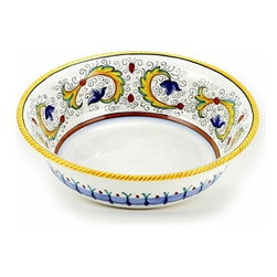 Artistica - Hand Made in Italy - Perugino: Serving Salad/Pasta Bowl - Perugino Collection: The Perugino pattern is an Artistica's exclusive. It was inspired by the Deruta's classic Raffaellesco a design that traces his origins from the XVI Century graceful arabesques of painter Raphael famous frescoes.