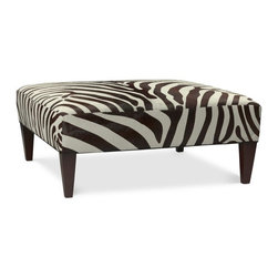 Fairfax Zebra Hair on Hide Ottoman - I'm obsessed with all things zebra, and this ottoman is no exception. Made from real cowhide, this is a beautiful choice for an upscale living room.